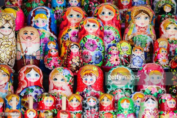 Matryoshka dolls for sale are seen in Lviv Ukraine on 16 July 2019