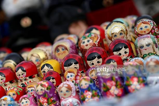 Matryoshka dolls on sale in a flea market on January 31 2016 in Sofia Bulgaria