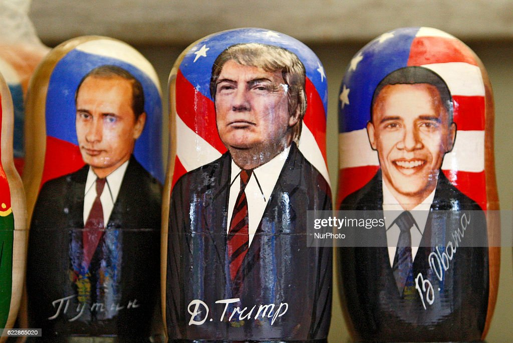 Matryoshka dolls with the portrait of US President-elect Donald Trump (C), US President Barack Obama (R) and Russian President Vladimir Putin (L) is displayed on the table of the street souvenir vendor,at the Andriyivsky Descent in downtown Kiev, Ukraine,12 November 2016. Americans chose Republican candidate Donald Trump as the 45th President of the United States of America on 08 November, to serve from 2017 through 2020.