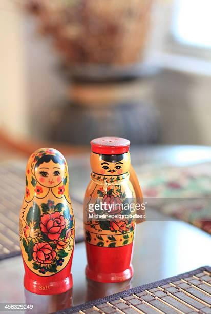 Matryoshka salt and pepper doll