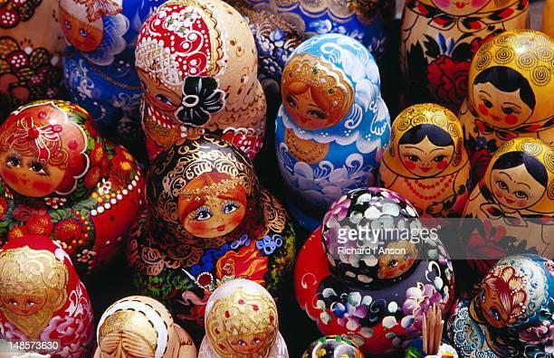 Matryoskha dolls for sale at souvenir market on waterfront in Listvyanka village on Lake  Baikal.