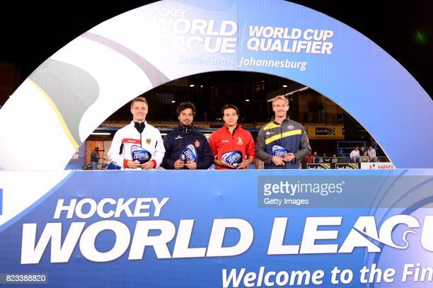 Mats Grambusch of Germany Quico Cortes of Spain Thomas Briels of Belgium and Aran Zalewski of Australia during day 9 of the FIH Hockey World League...