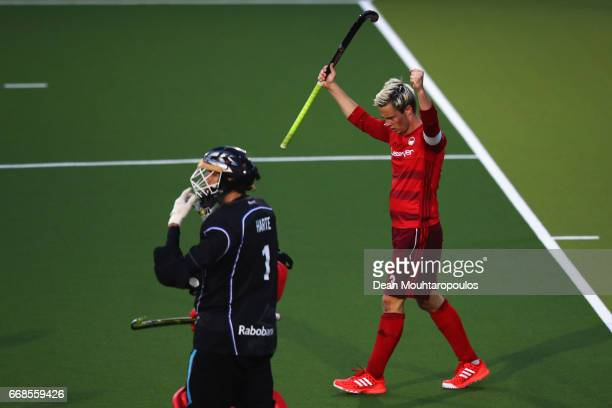 Mats Grambusch of Rot Weiss Koln celebrates scoring his teams first goal of the game during the Euro Hockey League KO16 match between SV Kampong and...