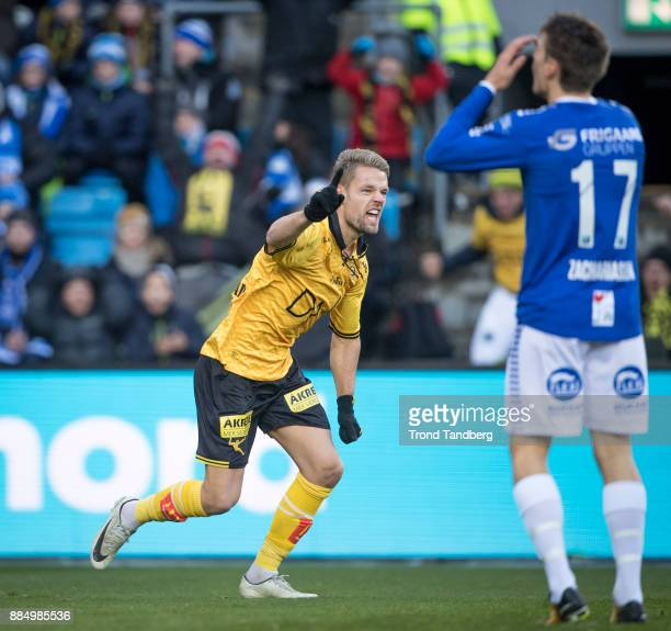 Mats Haakenstad celebrates goal during Norway Cup Final between Sarpsborg 08 v Lillestrom at Ullevaal Stadion on December 3 2017 in Oslo Norway