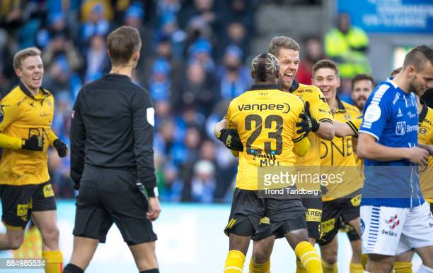 Mats Haakenstad celebrates goal with Chigozie Udoji during Norway Cup Final between Sarpsborg 08 v Lillestrom at Ullevaal Stadion on December 3 2017...