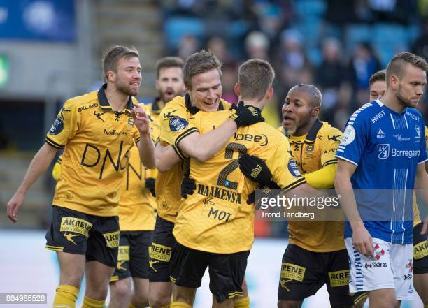 Mats Haakenstad celebrates goal with the team during Norway Cup Final between Sarpsborg 08 v Lillestrom at Ullevaal Stadion on December 3 2017 in...