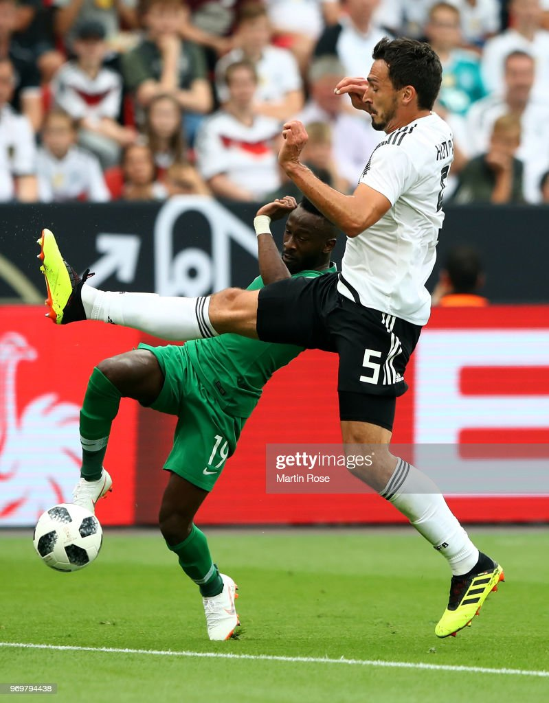 Mats Hummeks #5 of Germany and Fahad Al Muwallad of Saudi Arabia battle for the ball during the International Friendly match between Germany and Saudi Arabia at BayArena on June 8, 2018 in Leverkusen, Germany.