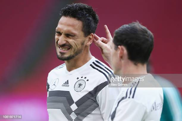 Mats Hummels and Sebastian Rudy attend a Germany traininkg session at Johan Cruyff Arena on October 12 2018 in Amsterdam Netherlands