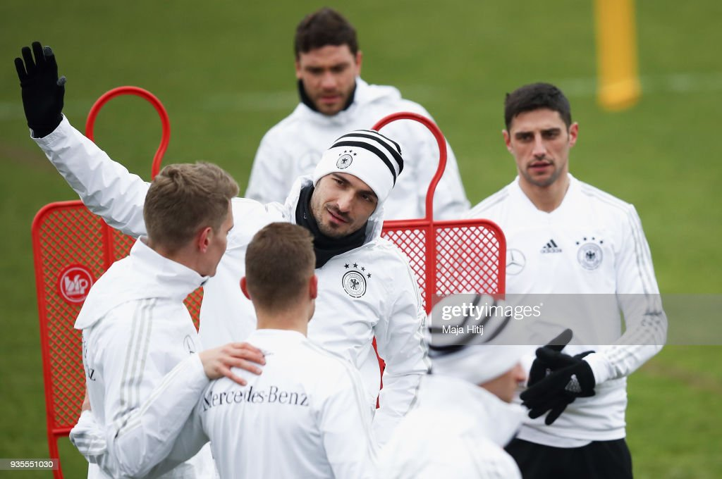Mats Hummels attends a Germany training session ahead of their international friendly match against Spain at Paul-Janes-Stadion on March 21, 2018 in Duesseldorf, Germany.