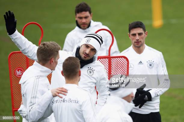 Mats Hummels attends a Germany training session ahead of their international friendly match against Spain at PaulJanesStadion on March 21 2018 in...