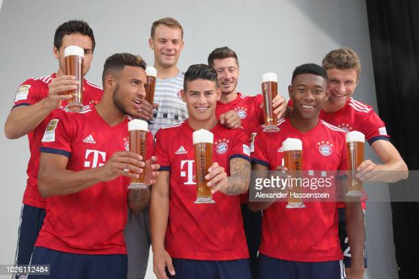 Mats Hummels Corentin Tolisso Manuel Neuer James Rodriguez Robert Lewandowski David Alaba dn Thomas Mueller of FC Bayern Muenchen during the FC...