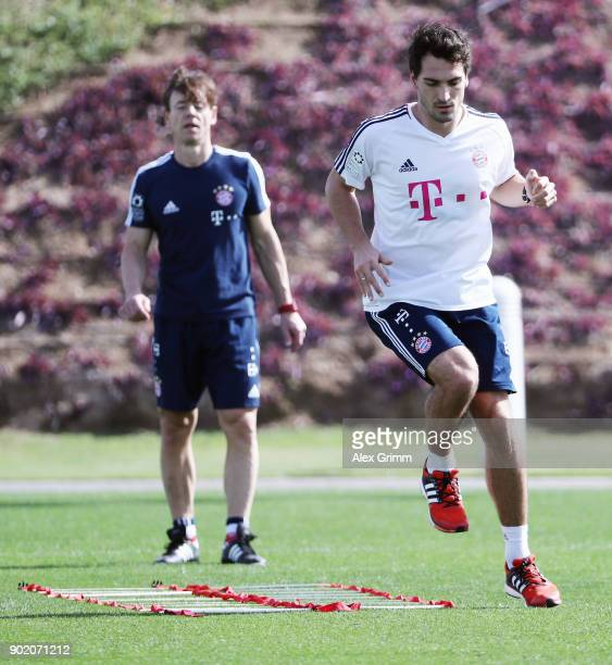 Mats Hummels exercises during an individual training session with coach Peter Schloesser on day 6 of the FC Bayern Muenchen training camp at ASPIRE...