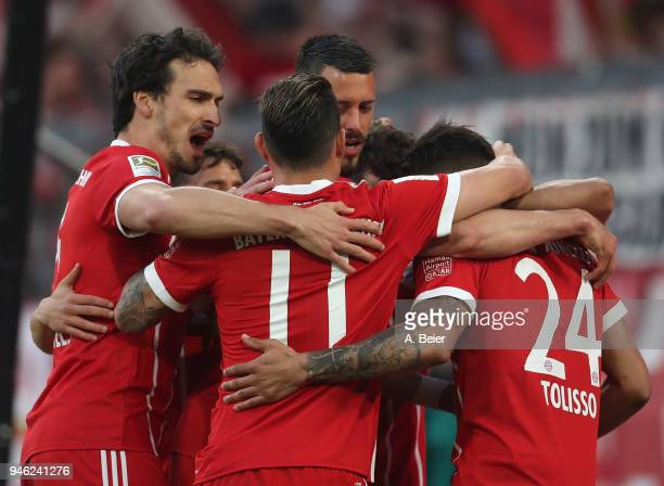 Mats Hummels James Rodriguez Sandro Wagner and Corentin Tolisso of FC Bayern Muenchen celebrate Thiago's first goal during the Bundesliga match...