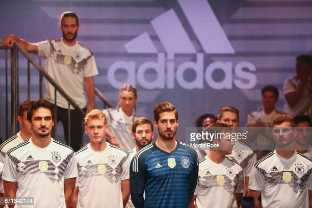 Mats Hummels, Julian Brandt, Kevin Trapp, Mario Goetze and Timo Werner attend the presentation of the new adidas Germany kit for the 2018 FIFA World...