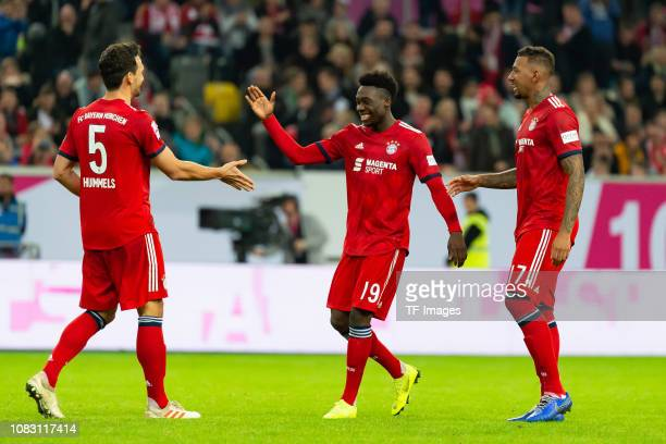 Mats Hummels of Bayern Muenchen Alphonso Davies of Bayern Muenchen and Jerome Boateng of Bayern Muenchen celebrate after winning the Telekom Cup 2019...