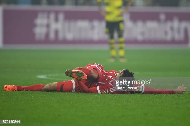 Mats Hummels of Bayern Muenchen lies on the pitch during the Bundesliga match between Borussia Dortmund and FC Bayern Muenchen at Signal Iduna Park...