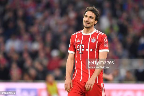 Mats Hummels of Bayern Muenchen looks on during the Bundesliga match between FC Bayern Muenchen and Borussia Moenchengladbach at Allianz Arena on...