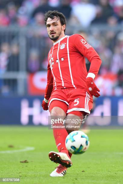 Mats Hummels of Bayern Muenchen passes the ball during the Bundesliga match between FC Bayern Muenchen and Hertha BSC at Allianz Arena on February 24...