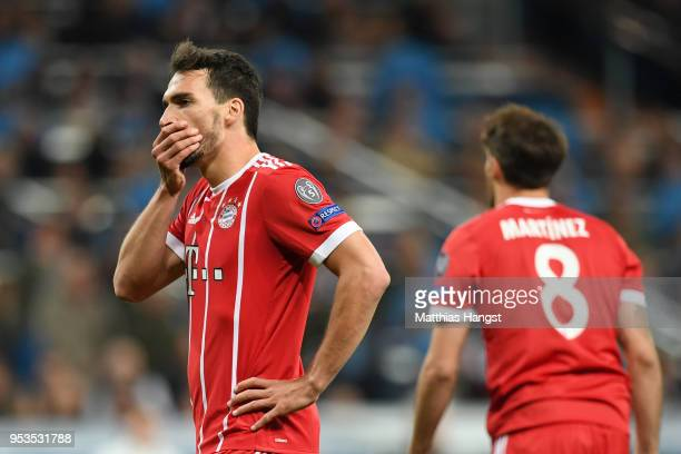 Mats Hummels of Bayern Muenchen reacts during the UEFA Champions League Semi Final Second Leg match between Real Madrid and Bayern Muenchen at the...