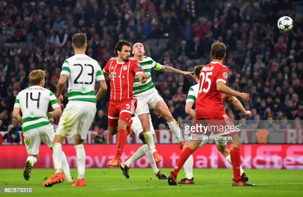 Mats Hummels of Bayern Muenchen scores his sides third goal during the UEFA Champions League group B match between Bayern Muenchen and Celtic FC at...
