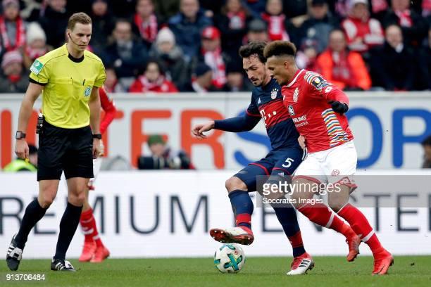 Mats Hummels of Bayern Munchen Abdou Diallo of FSV Mainz during the German Bundesliga match between FSV Mainz v Bayern Munchen at the Opel Arena on...