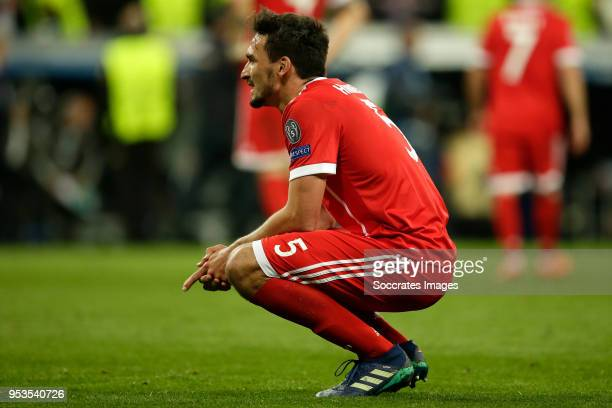 Mats Hummels of Bayern Munchen during the UEFA Champions League match between Real Madrid v Bayern Munchen at the Santiago Bernabeu on May 1 2018 in...