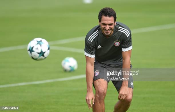 Mats Hummels of Bayern Munich gestures during a training session at the Team's Training Compound in Munich Germany on September 11 2017