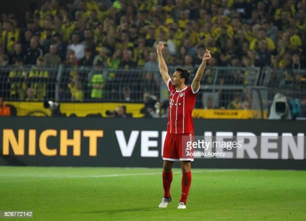 Mats Hummels of Bayern Munich gestures during the DFL Super Cup 2017 final match between Borussia Dortmund and Bayern Munich at Signal Iduna Park...