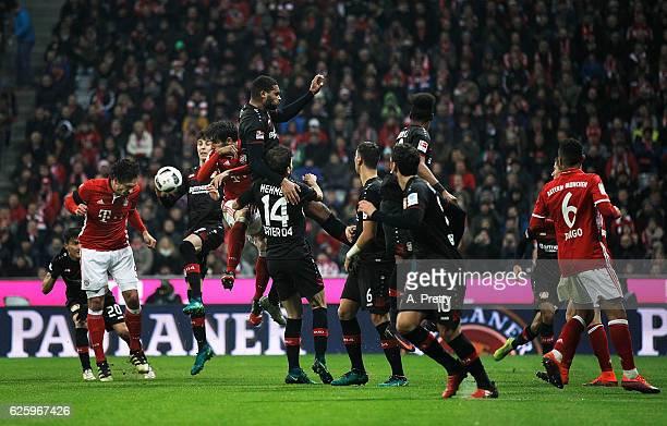 Mats Hummels of Bayern Munich heads in the winning goal during the Bundesliga match between Bayern Muenchen and Bayer 04 Leverkusen at Allianz Arena...