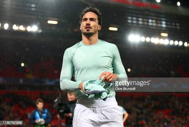 Mats Hummels of Bayern Munich removes his shirt after the UEFA Champions League Round of 16 First Leg match between Liverpool and FC Bayern Muenchen...