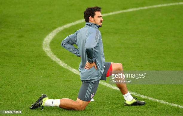 Mats Hummels of Bayern Munich warms up during the FC Bayern Muenchen Training Session ahead of the UEFA Champions League Round of 16 First Leg match...