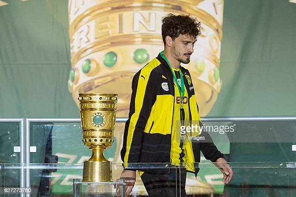 Mats Hummels of Borussia Dortmund after receiving the medal for the second place during the DFB Cup Final match 2016 between Bayern Muenchen and...