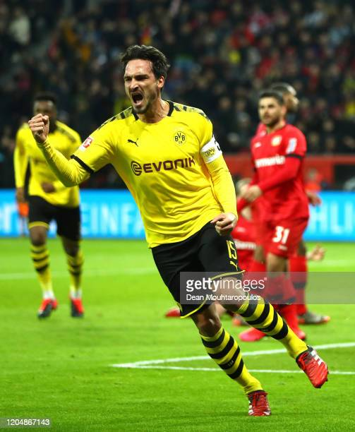 Mats Hummels of Borussia Dortmund celebrates after scoring his team's first goal during the Bundesliga match between Bayer 04 Leverkusen and Borussia...