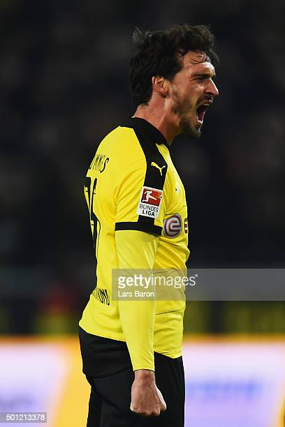Mats Hummels of Borussia Dortmund celebrates as he scores their thrid goal during the Bundesliga match between Borussia Dortmund and Eintracht...