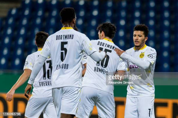 Mats Hummels of Borussia Dortmund celebrates scoring the opening goal during the DFB Cup second round match between Eintracht Braunschweig and...