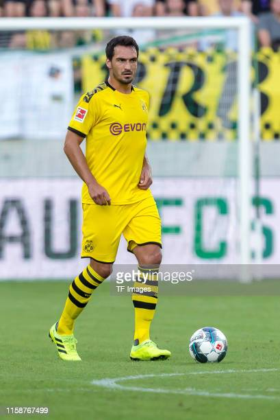Mats Hummels of Borussia Dortmund controls the ball during the preseason friendly match between FC St Gallen and Borussia Dortmund at Kybunpark on...