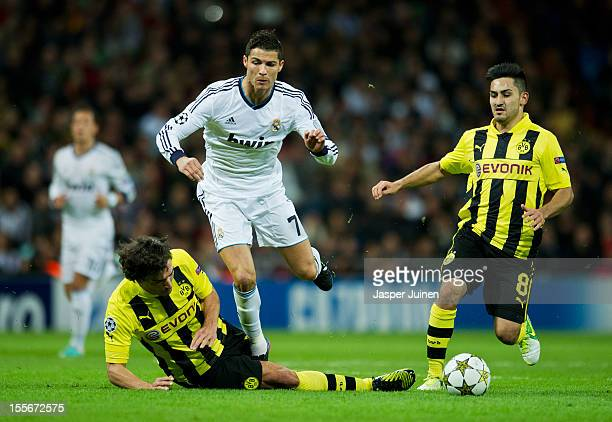Mats Hummels of Borussia Dortmund fouls Cristiano Ronaldo of Real Madrid during the UEFA Champions League group D match between Real Madrid and...