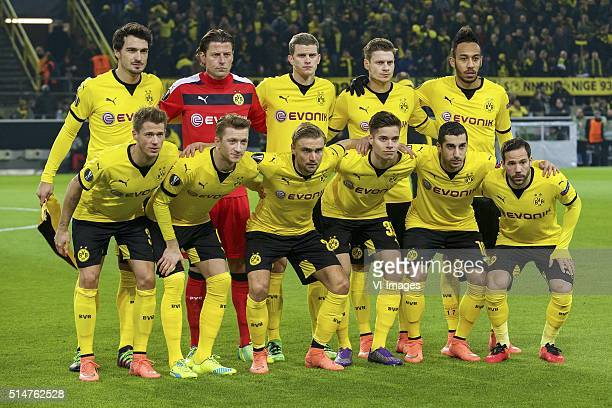 Mats Hummels of Borussia Dortmund goalkeeper Roman Weidenfeller of Borussia Dortmund Sven Bender of Borussia Dortmund Lukasz Piszczek of Borussia...