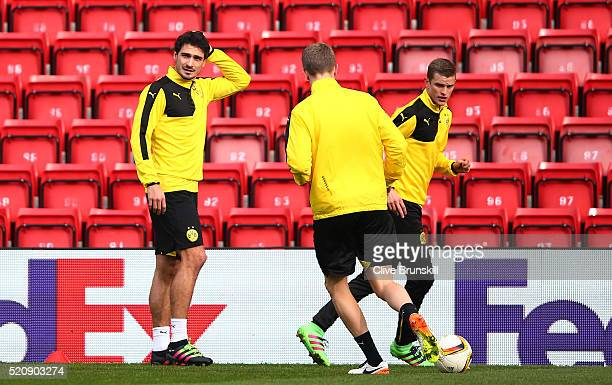 Mats Hummels of Borussia Dortmund looks on during a training session ahead of the UEFA Europa League quarter final between Liverpool and Borussia...
