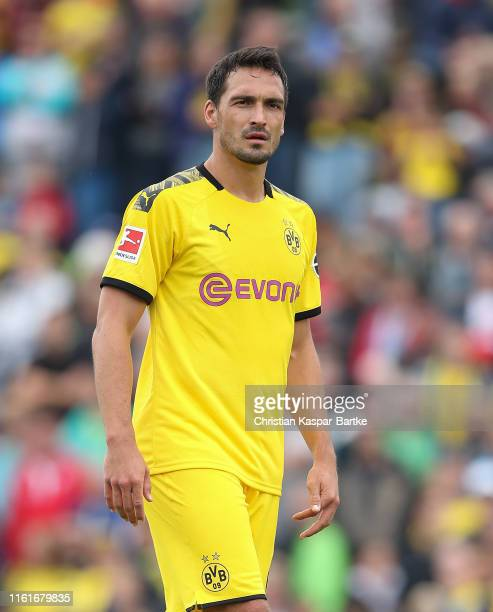 Mats Hummels of Borussia Dortmund looks on during the preseason friendly match between FC Schweinberg and Borussia Dortmund on July 12 2019 in...