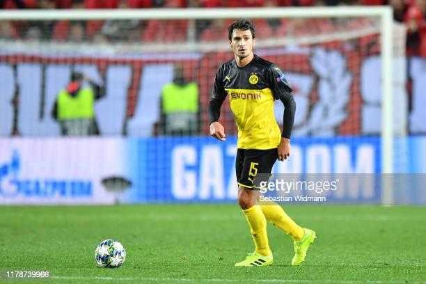 Mats Hummels of Borussia Dortmund plays the ball during the UEFA Champions League group F match between Slavia Praha and Borussia Dortmund at Eden...