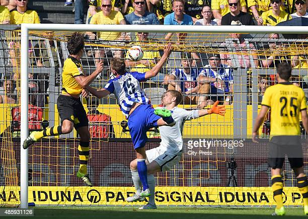 Mats Hummels of Borussia Dortmund scores the 10 during the game between Borussia Dortmund and Hertha BSC on August 30 2015 in Dortmund Germany