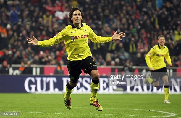 Mats Hummels of Dortmund celebrates after scoring his teams third goal during the Bundesliga match between FC Bayern Muenchen and Borussia Dortmund...