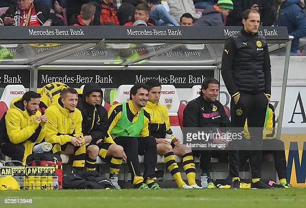 Mats Hummels of Dortmund jokes with Marco Reus of Dortmund during the Bundesliga match between VfB Stuttgart and Borussia Dortmund at MercedesBenz...