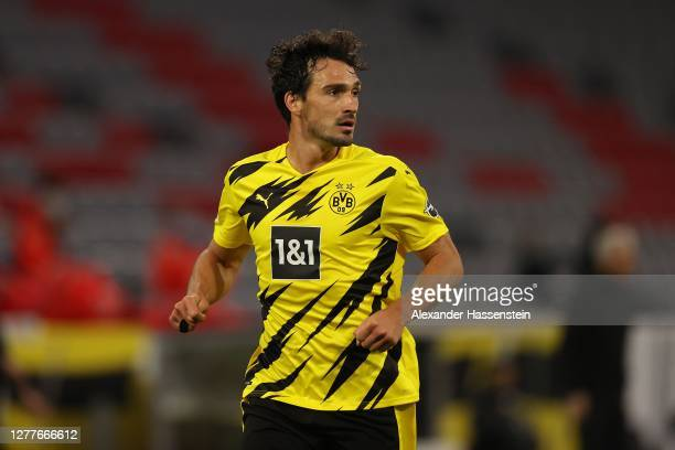 Mats Hummels of Dortmund looks on during the Supercup 2020 match between FC Bayern München and Borussia Dortmund at Allianz Arena on September 30...