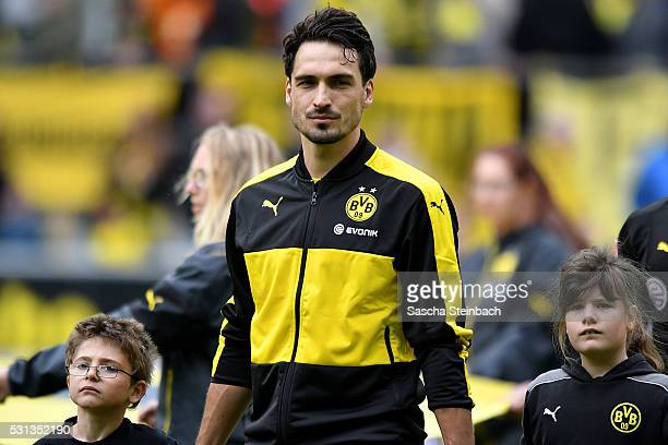 Mats Hummels of Dortmund looks on prior to the Bundesliga match between Borussia Dortmund and 1 FC Koeln at Signal Iduna Park on May 14 2016 in...