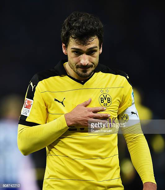 Mats Hummels of Dortmund looks unhappy during the Bundesliga match bewteen Hertha BSC and Borussia Dortmund at Olympiastadion on February 6 2016 in...