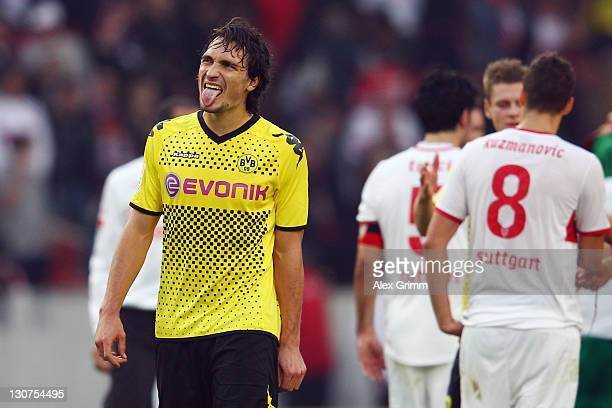 Mats Hummels of Dortmund reacts after the Bundesliga match between VfB Stuttgart and Borussia Dortmund at MercedesBenz Arena on October 29 2011 in...
