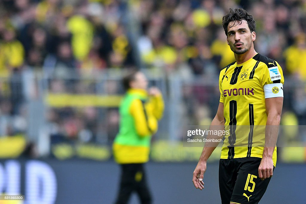 Mats Hummels of Dortmund reacts while leaving the pitch after the Bundesliga match between Borussia Dortmund and 1. FC Koeln at Signal Iduna Park on May 14, 2016 in Dortmund, Germany.