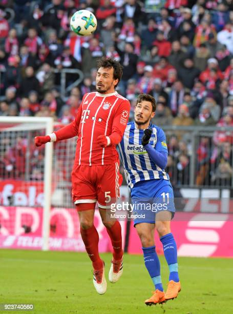 Mats Hummels of FC Bayern Muenchen and Mathew Leckie of Hertha BSC before the Bundesliga match between FC Bayern Muenchen and Hertha BSC at the...